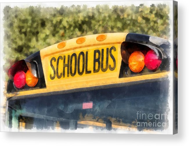 School Acrylic Print featuring the painting Back To School Bus Watercolor by Edward Fielding