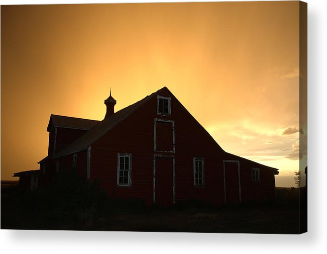Barn Acrylic Print featuring the photograph Barn At Sunset by Jerry McElroy
