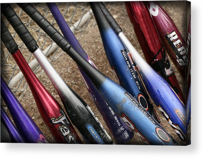 Softball Acrylic Print featuring the photograph Bat Collection by Kelley King