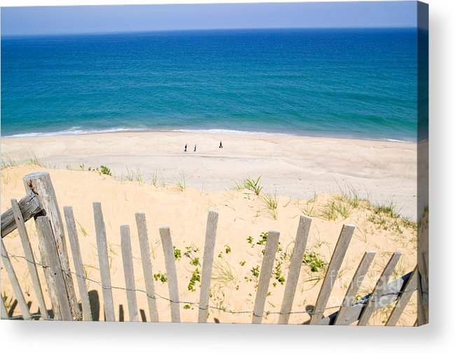 Beach Fence Acrylic Print featuring the photograph beach fence and ocean Cape Cod by Matt Suess