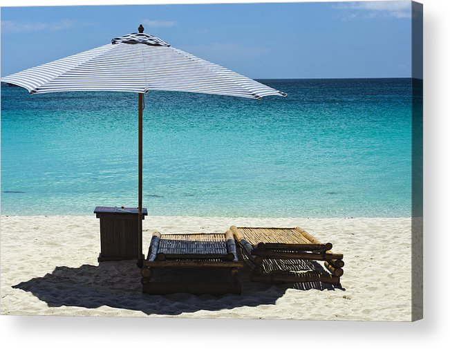 Beach Scene Acrylic Print featuring the photograph Beach Scene With Lounger And Umbrella by Paul W Sharpe Aka Wizard of Wonders