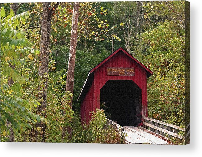 Covered Bridge Acrylic Print featuring the photograph Bean Blossom Bridge I by Margie Wildblood