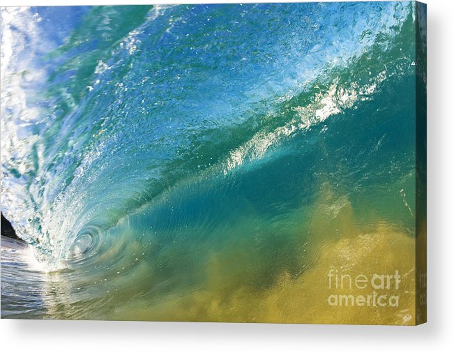 Aqua Acrylic Print featuring the photograph Beautiful Wave Breaking by MakenaStockMedia