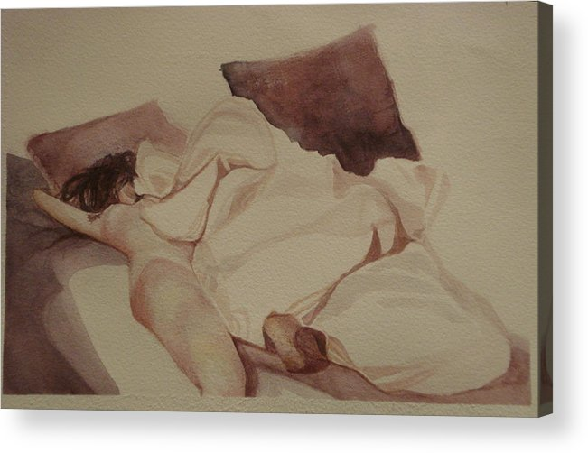 Bed Acrylic Print featuring the painting Bed Creature I by Alida Frey