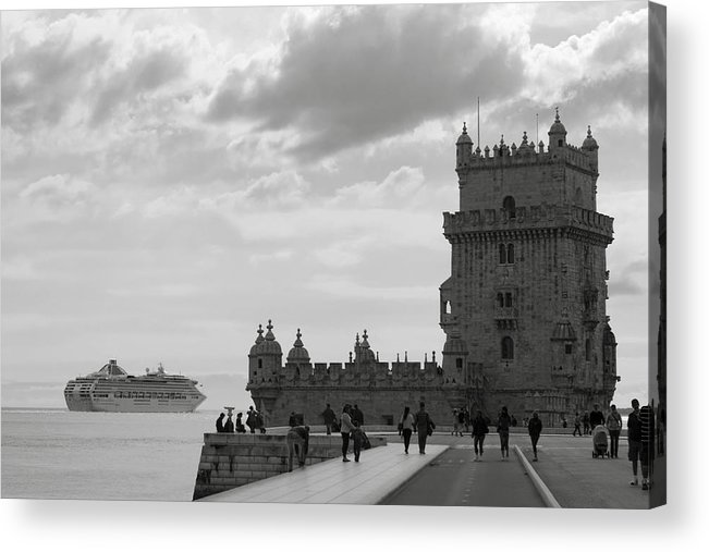 Lisbon Acrylic Print featuring the photograph Belem And The Boat by Lorraine Devon Wilke
