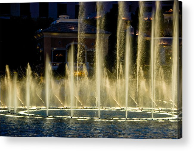 Las Vegas Acrylic Print featuring the photograph Bellagio Light Show - Lasvegas by Neil Doren