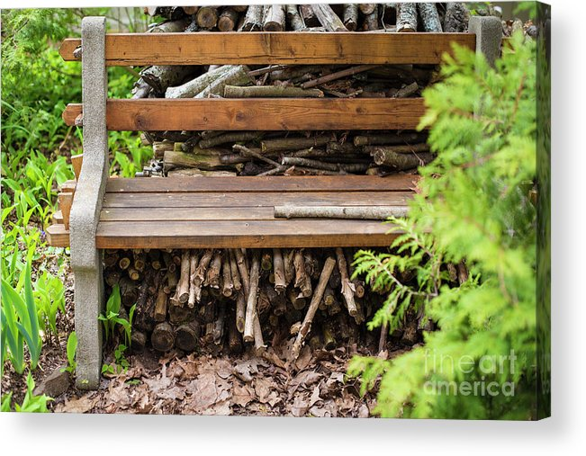 Bench Acrylic Print featuring the photograph Bench And Wood Pile by Deborah Brown