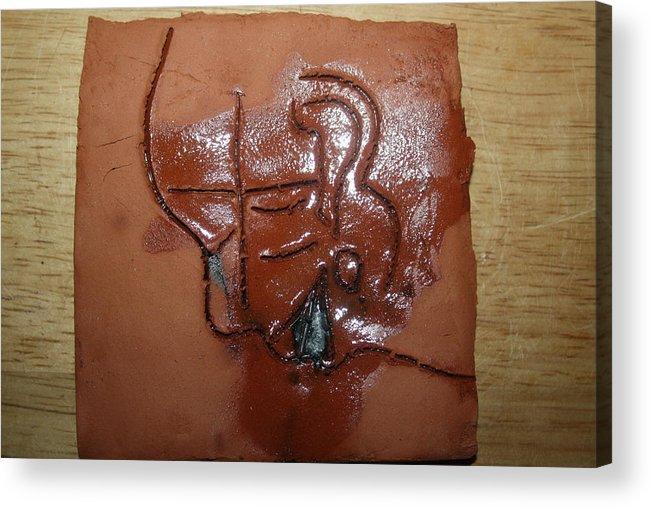Jesus Acrylic Print featuring the ceramic art Betrayal - Tile by Gloria Ssali