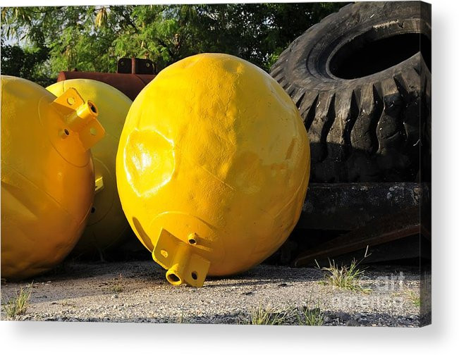 Yellow Acrylic Print featuring the photograph Big Yellow Balls by David Lee Thompson