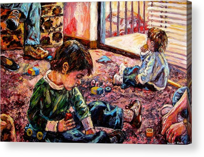 Figure Acrylic Print featuring the painting Birthday Party Or A Childs View by Kendall Kessler