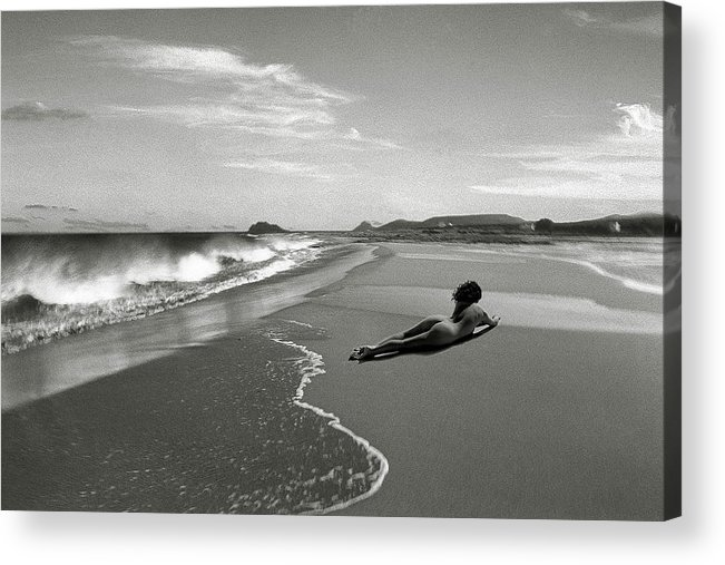 Black And White Nudes Acrylic Print featuring the photograph Black And White Nude 017 by Manolis Tsantakis