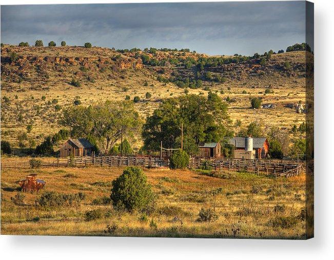 Black Mesa Acrylic Print featuring the photograph Black Mesa Ranch by Charles Warren