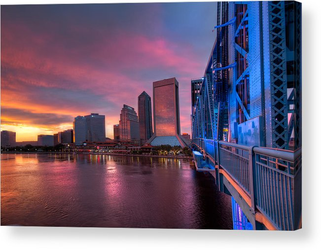 Clouds Acrylic Print featuring the photograph Blue Bridge Red Sky Jacksonville Skyline by Debra and Dave Vanderlaan