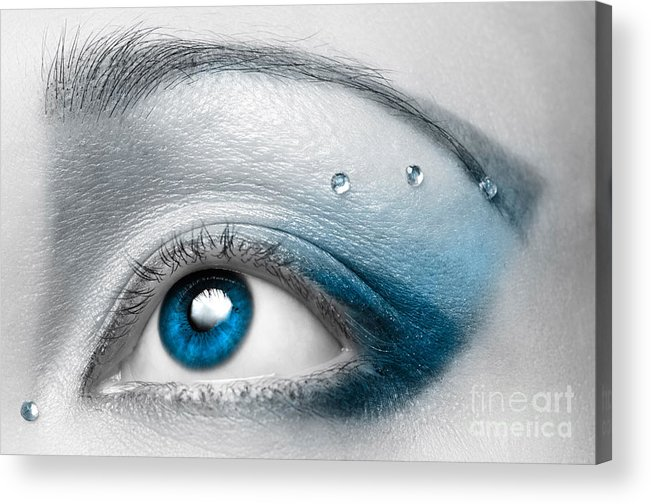 Eye Acrylic Print featuring the photograph Blue Female Eye Macro With Artistic Make-up by Maxim Images Prints