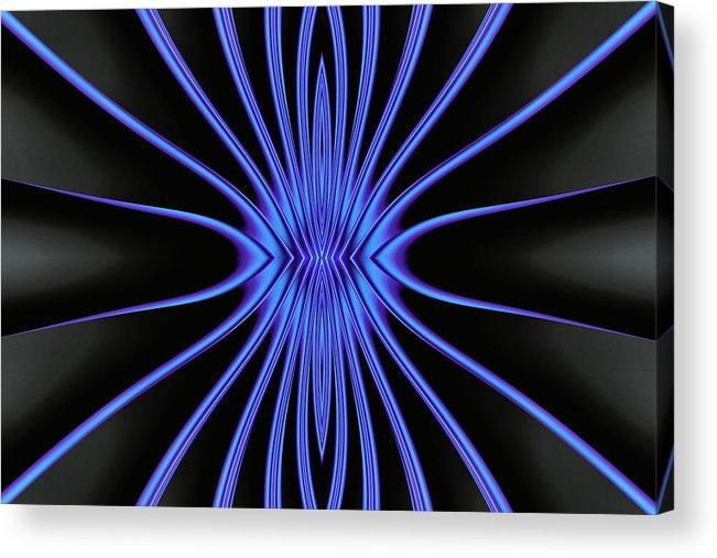Art Acrylic Print featuring the digital art Blue Starburst On Black by Myxtl Turnipseed