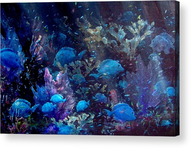 Blue Tang Acrylic Print featuring the painting Blue Tang Sea Fan  by Ana Bikic