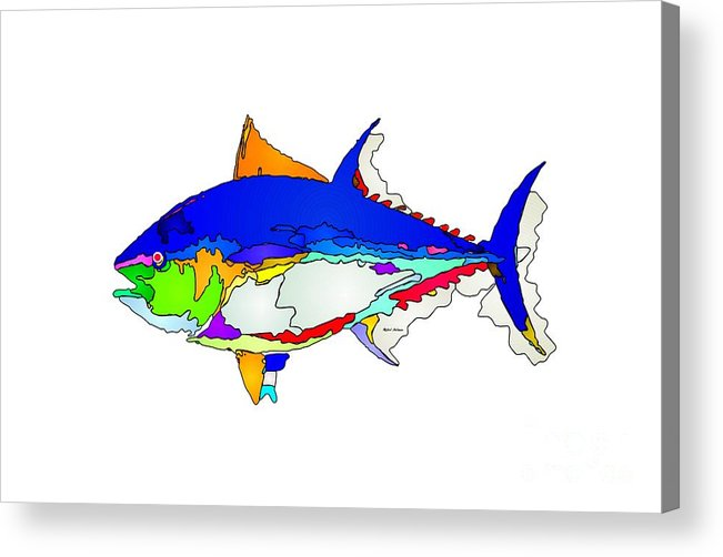 Fish Acrylic Print featuring the digital art Bluefin Tuna by Rafael Salazar