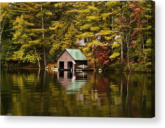 Adirondacks Acrylic Print featuring the photograph Boat House by David Simons