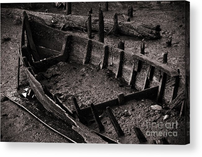 Abandon Acrylic Print featuring the photograph Boat Remains by Carlos Caetano
