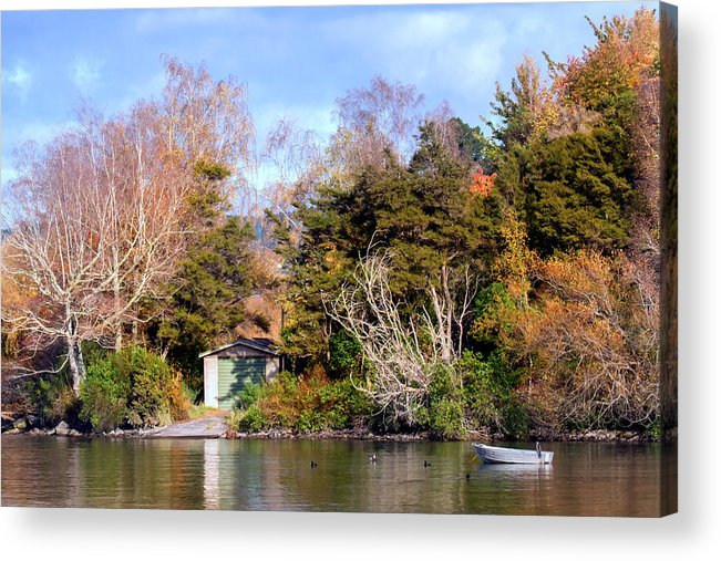 Boat Acrylic Print featuring the photograph Boat Shed On The Waikato River by Nicholas Blackwell