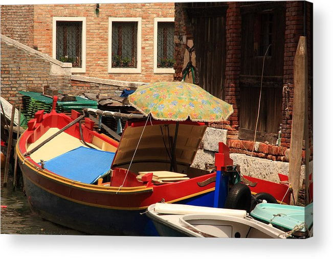 Venice Acrylic Print featuring the photograph Boat With Umbrella On Canal In Venice by Michael Henderson