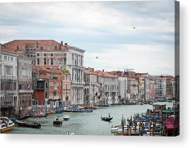 Horizontal Acrylic Print featuring the photograph Boats And Gondolas In Grand Canal by AlexandraR