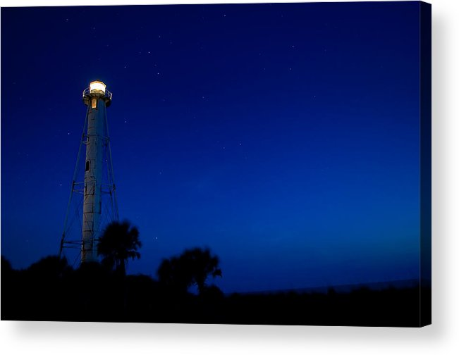 Lighthouse Acrylic Print featuring the photograph Boca Grande Lighthouse On A Starry Night by Rich Leighton