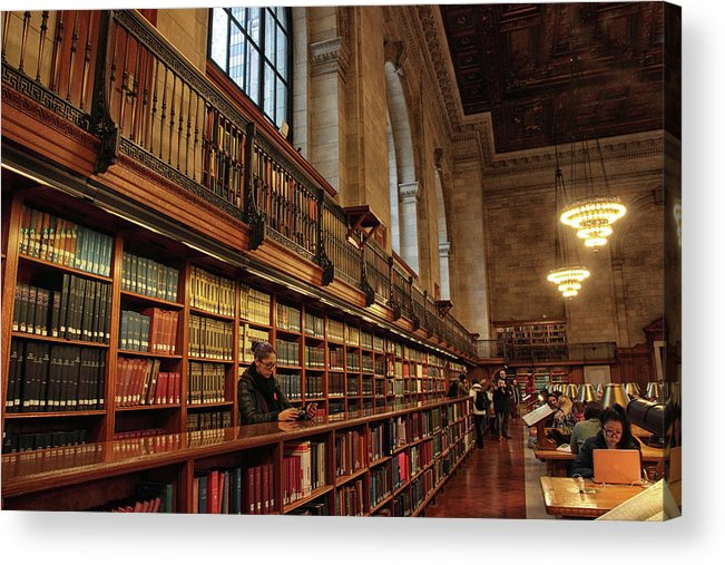 New York Public Library Acrylic Print featuring the photograph Book Browsing by Jessica Jenney