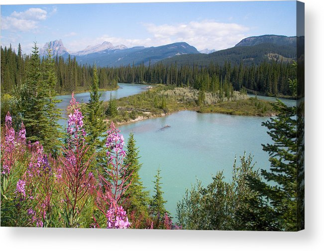 Bow River Acrylic Print featuring the photograph Bow River Banff National Park Canada by Linda McRae