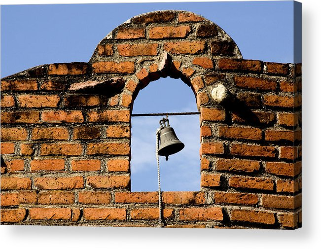 Brick Wall Bell Abstract Architecture Building Stone Mexico Acrylic Print featuring the photograph Brick Wall And Bell by Xavier Cardell