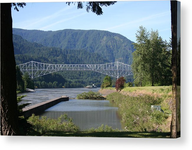 Bridges Acrylic Print featuring the photograph Bridge Of The Gods Br-4002 by Mary Gaines