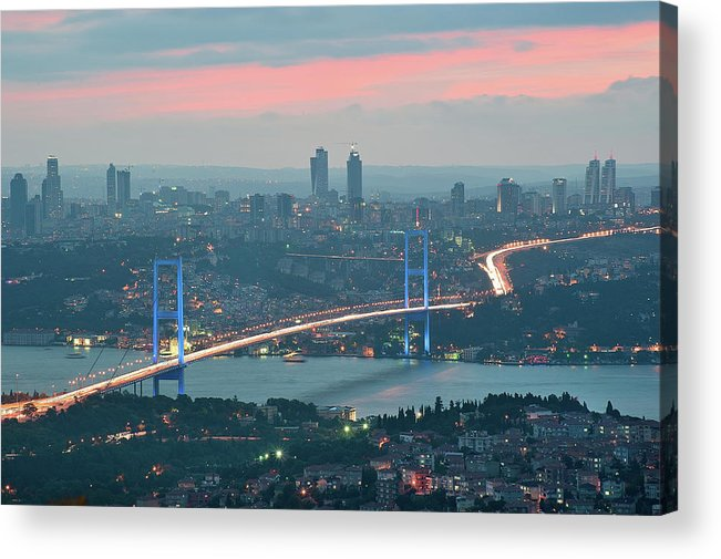 Horizontal Acrylic Print featuring the photograph Bridge Over Bosphrous by Salvator Barki