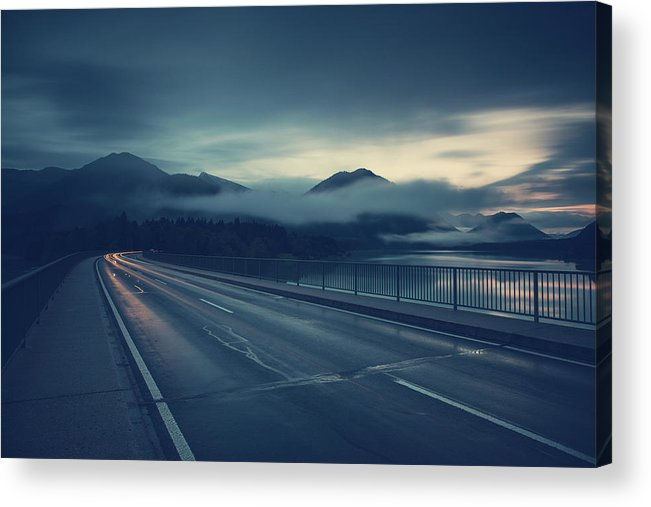 Bavaria Acrylic Print featuring the photograph Bridge Over Lake Sylvenstein by Franz Sussbauer