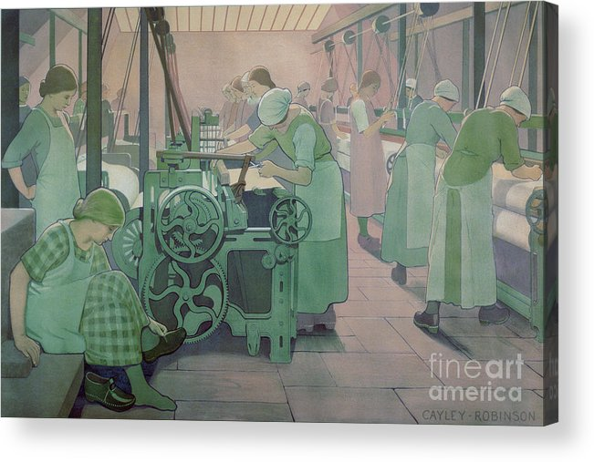 Factory; Twenties; Women; Machinery; Looms; Protective Clothing Acrylic Print featuring the painting British Industries - Cotton by Frederick Cayley Robinson