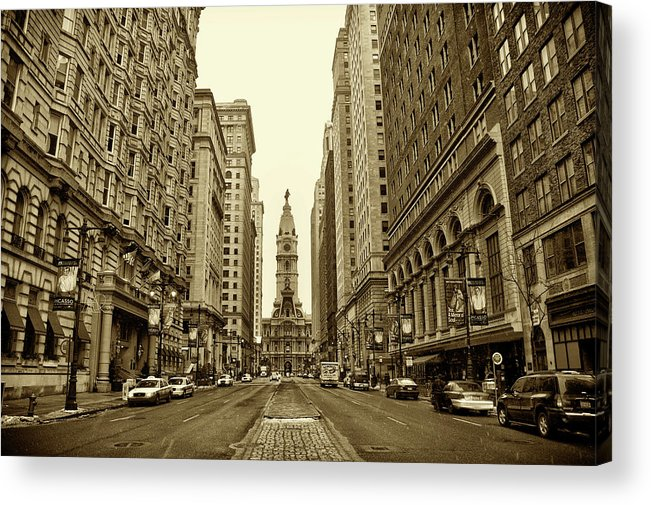 Broad Street Acrylic Print featuring the photograph Broad Street Facing Philadelphia City Hall In Sepia by Bill Cannon