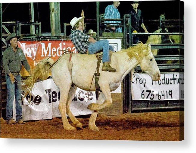 Horse Acrylic Print featuring the photograph Bronc Riding by Glenn Matthews