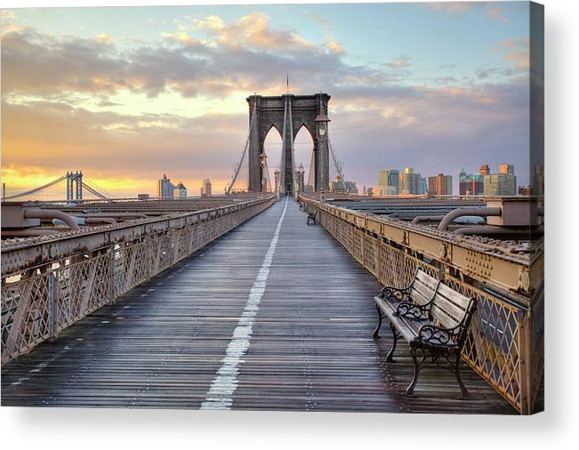 Horizontal Acrylic Print featuring the photograph Brooklyn Bridge At Sunrise by Anne Strickland Fine Art Photography