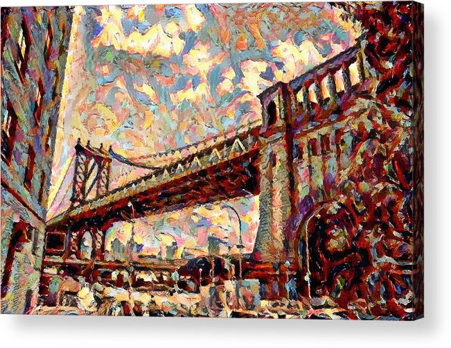 Brooklyn Acrylic Print featuring the painting Brooklyn Bridge Watercolor by Bill Cannon