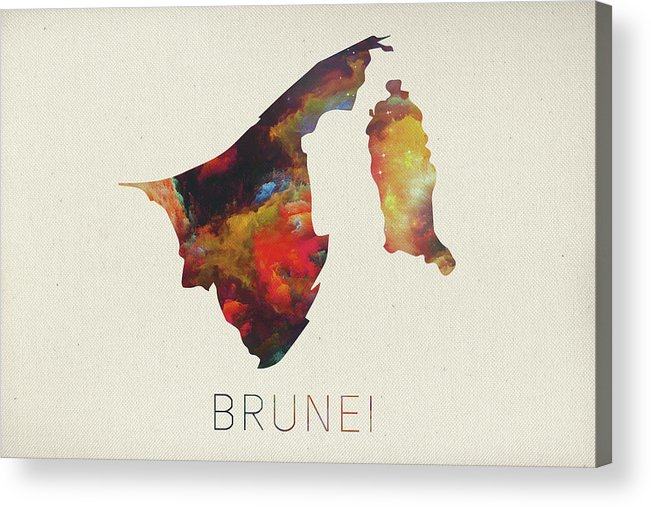 Brunei Acrylic Print featuring the mixed media Brunei Watercolor Map by Design Turnpike