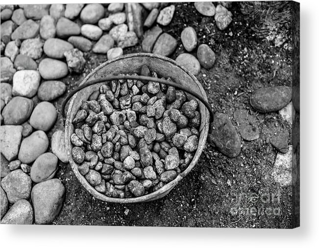 Rocks Acrylic Print featuring the photograph Bucket Of Rocks In Black And White by Deborah Brown