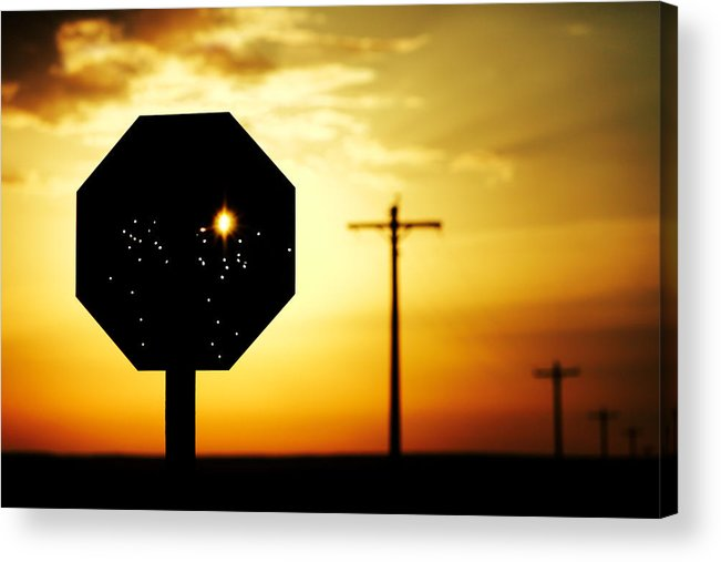 Stop Acrylic Print featuring the photograph Bullet-riddled Stop Sign by Todd Klassy