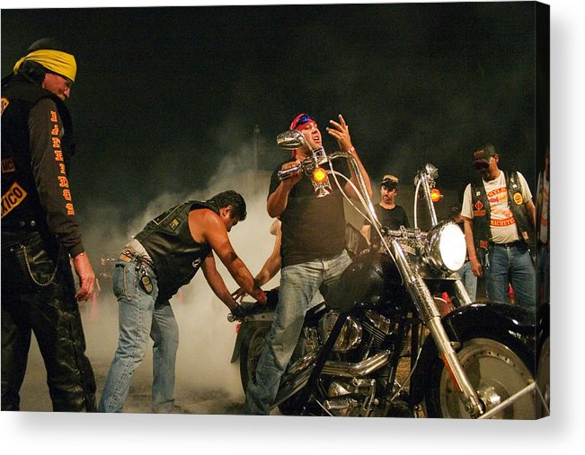 Biker Acrylic Print featuring the photograph Burn Out by Skip Hunt