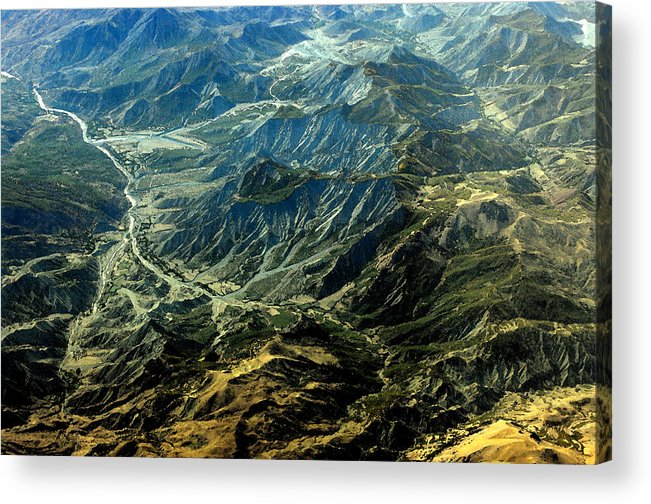 Landscape Acrylic Print featuring the digital art By Air by Don Prioleau