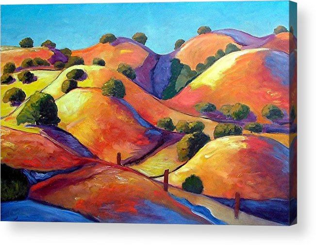 Curves Acrylic Print featuring the painting Ca Rollers by Gary Coleman