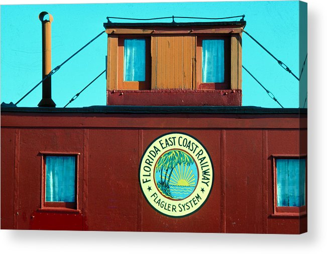 Florida Keys Train Railroad Acrylic Print featuring the photograph Caboose by Carl Purcell