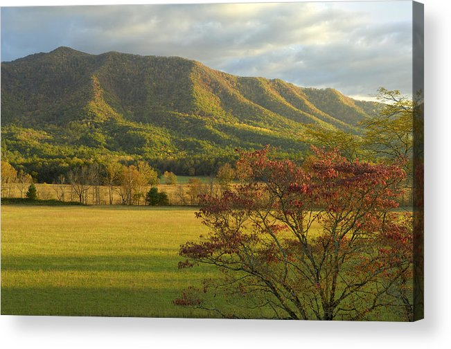 Cades Cove Acrylic Print featuring the photograph Cades Cove Autumn Sunset In Great Smoky Mountains by Darrell Young
