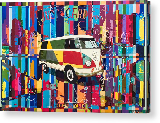 Vw Bus Acrylic Print featuring the painting Camouflage by Alfred Degens