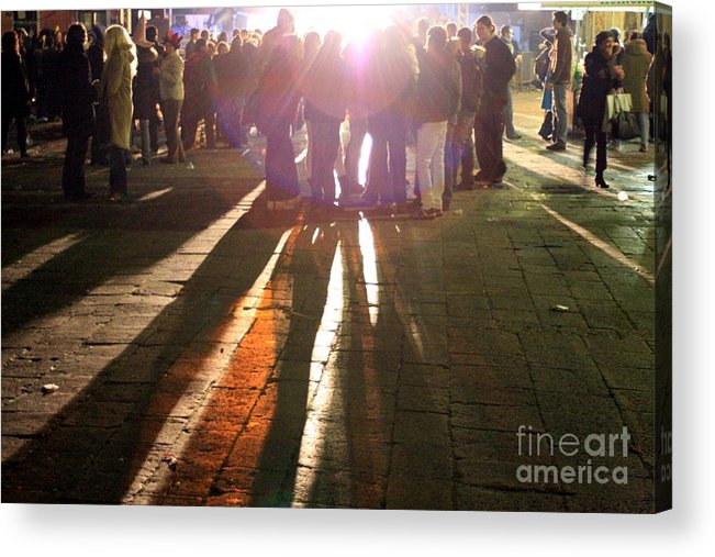 Venice Acrylic Print featuring the photograph Campo In Venice At Night by Michael Henderson