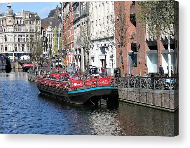 Landscape Acrylic Print featuring the photograph Canal Lunch by Sandra Bourret
