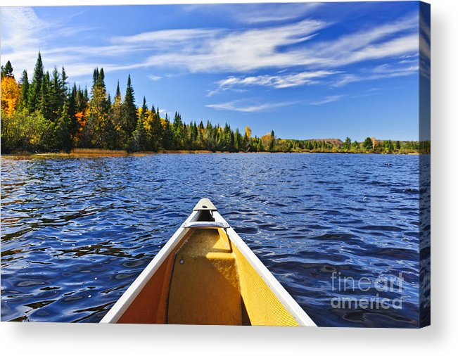 Canoe Acrylic Print featuring the photograph Canoe Bow On Lake by Elena Elisseeva